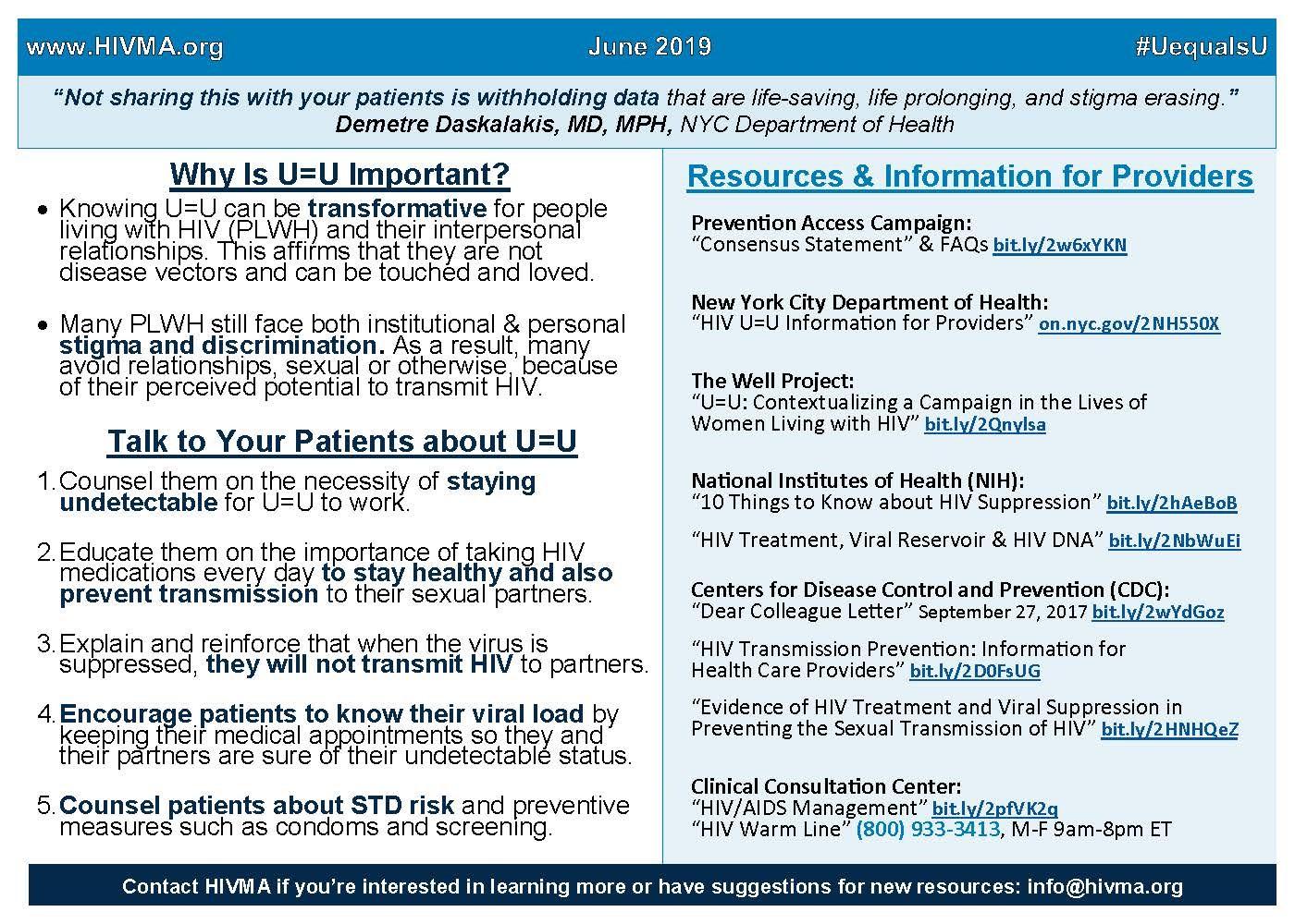 HIV Treatment as Preventions U=U